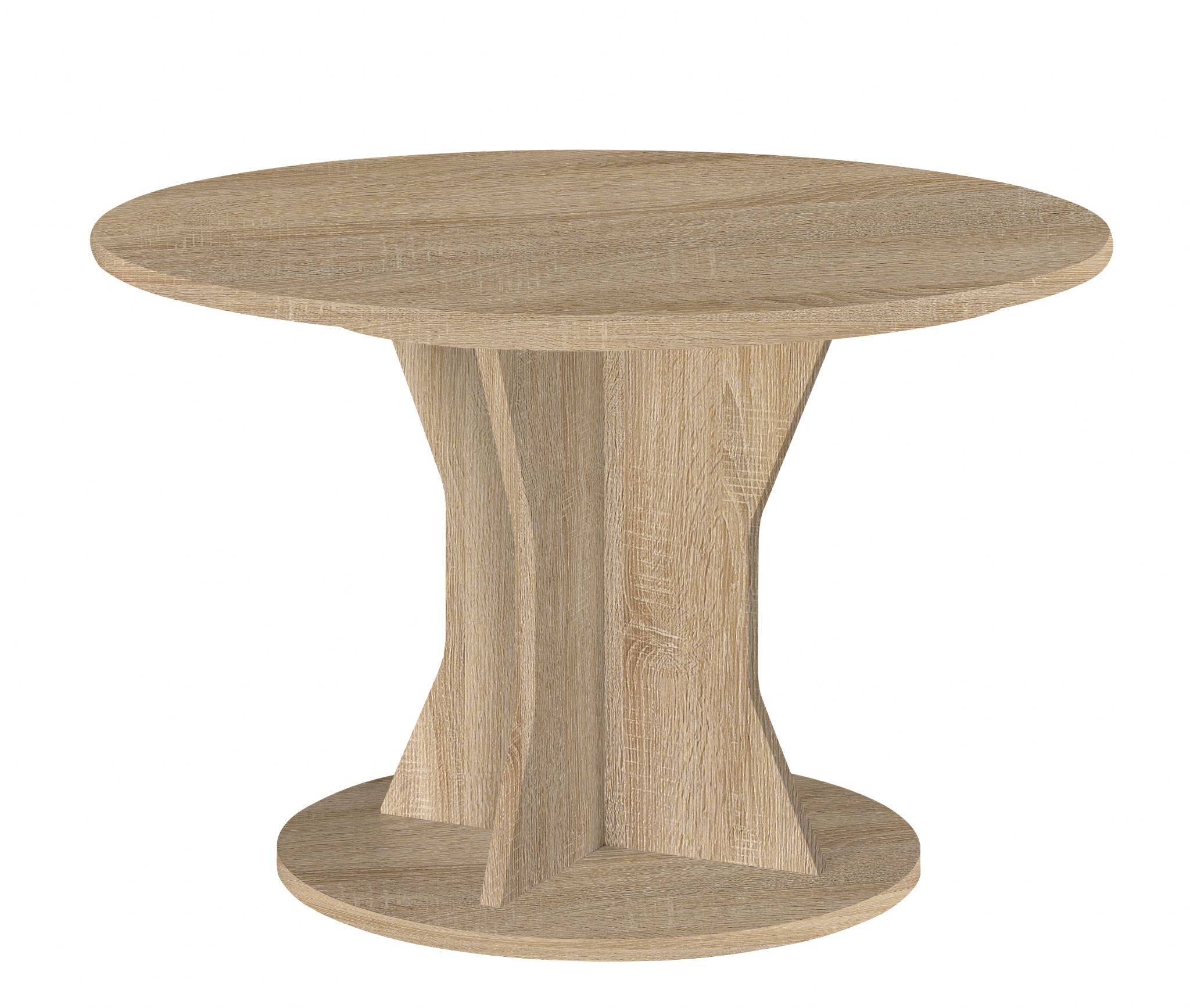 Modern Palace Extending Round Dining Table In White Sawn