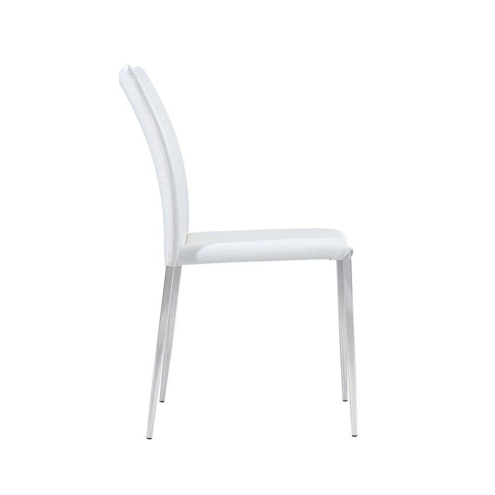 siena dining chair white faux leather set of 4. Black Bedroom Furniture Sets. Home Design Ideas