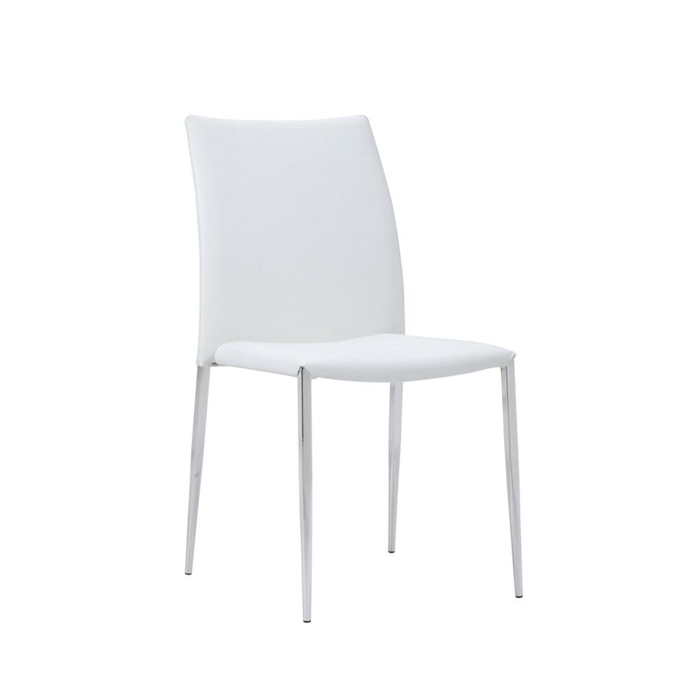 Siena dining chair white faux leather set of 4 for White chair dining set