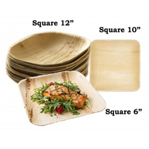 "6"" Square Areca Leaf Disposable Plates"