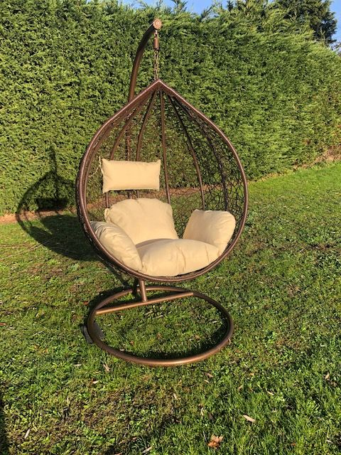 Brown Patio Hanging Chair Garden Rattan Swing Seat Comfortable Cushion Relax Egg Chair