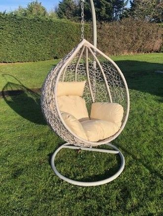 Grey Patio Hanging Chair Garden Rattan Swing Seat Comfortable Cushion Relax Egg Chair