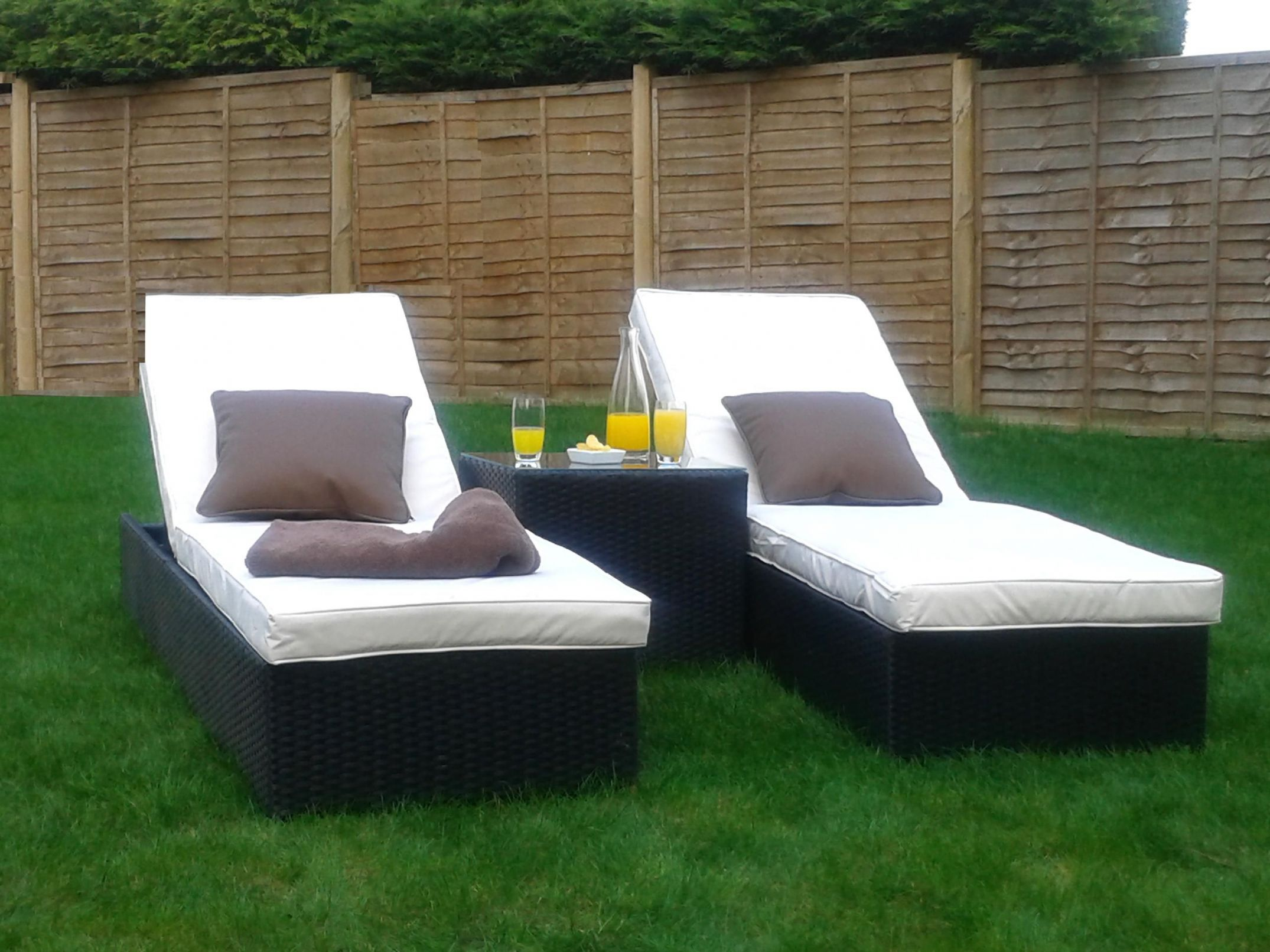 marco phillippe twin rattan sunlounger plus coffee table